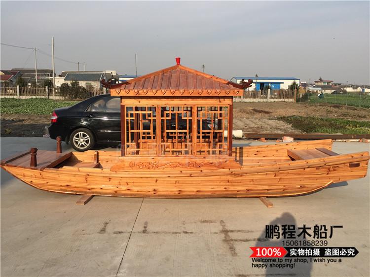 观光木船小画舫船钓鱼船摆件手划木船景区公园游船装饰木船仿古船-图片