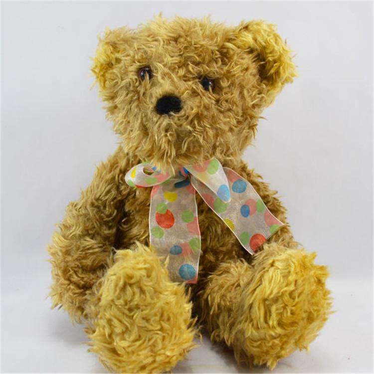 深圳毛绒玩具厂家坐姿丝带玫瑰绒泰迪熊公仔企业吉祥物礼品来图定制