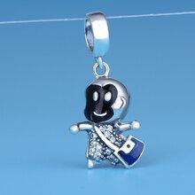 S925纯银吊坠时尚手工diy小猴子手链项链挂件纯银饰品配件