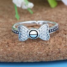 爆款特价纯银专柜欧美新款S925纯银泰银蝴蝶镶锆石开口戒指