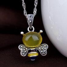 韩版S925纯银泰银项链项坠天然黄玉髓黄蜜蜂吊坠时尚环保饰品