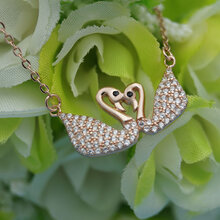 新款925纯银项链首饰批发韩版时尚创意礼品双影天鹅纯银项链