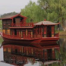 定制木船画舫船水上观光旅游船电动豪华观光船