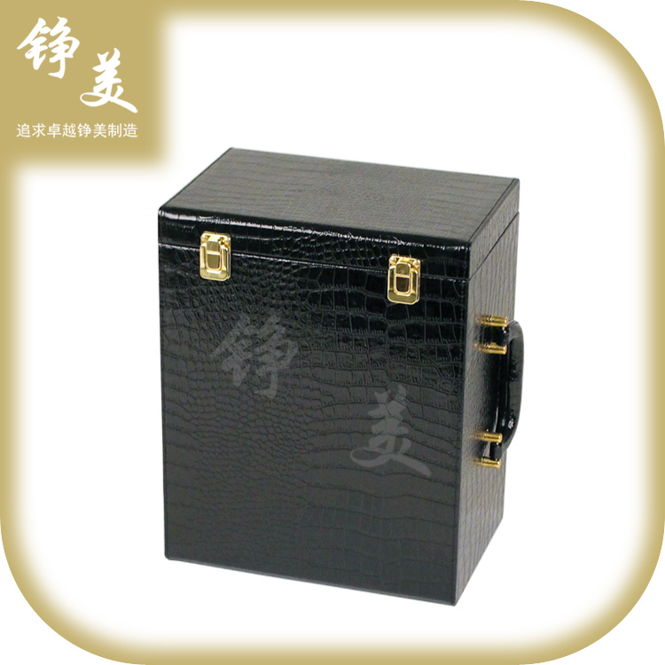 批发供应红酒礼品包装盒双排六支装铮美箱包黑色亮光鳄鱼纹酒盒