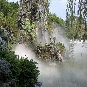 漢中別墅花園人造冷霧系統人工造霧景觀設備假山人造冷霧系統