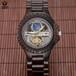鑫柏琴厂家直销新款黑檀木质全自动机械手表镂空男士高档防水定制批发