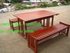 小区桌椅全实木商业街休闲木桌椅园林座椅