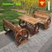 厂家直销碳化木桌椅防腐木休闲座椅实木餐厅户外椅高档1桌两椅