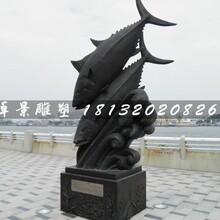 鱼戏水铜雕,公园动物铜雕图片