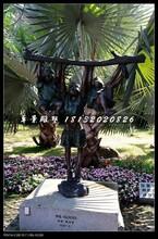 小孩扒树枝铜雕,小品铜雕图片
