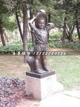小男孩铜雕,公园人物铜雕图片