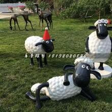 小羊肖恩雕塑,玻璃钢卡通雕塑图片
