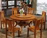 天津大理石圆形餐桌,家用带转盘实木饭桌,带滑轮可转餐桌