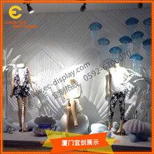 商場櫥窗裝飾貝殼櫥窗道具背景布景玻璃鋼美陳節日慶典道具訂制圖片