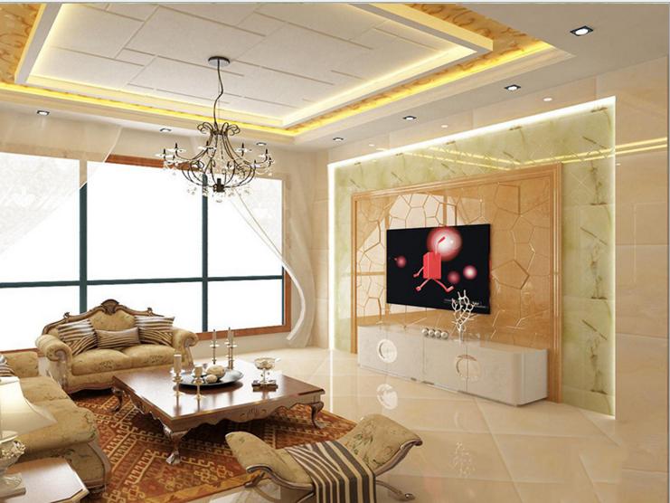 商場玉石背景墻定制客廳人造石背景墻裝飾歐式現代風格透光石圖片