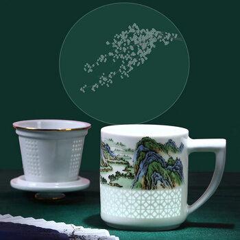 景德镇过滤茶杯定制带盖泡茶过滤茶杯印logo