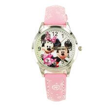 正品迪士尼Disney儿童手表女孩迪士尼米奇手表真皮卡通手表