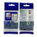 兄弟国产强粘性标签色带TZ2-S111不干胶纸透明底黑字6MM