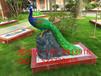 玻璃钢仿真孔雀公园绿地彩绘孔雀摆件广州玻璃钢雕塑厂家