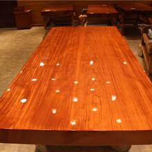 巴花纯实木大板餐桌茶桌,高级定制办公桌纯天然木业图片
