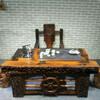 老船木办公泡茶两用桌船木茶桌中式实木茶几功夫泡茶台海螺孔桌椅
