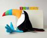 色彩斑斓的巨嘴鸟毛绒球10',可爱的巨嘴鸟长莎菲克毛绒玩具厂家直销