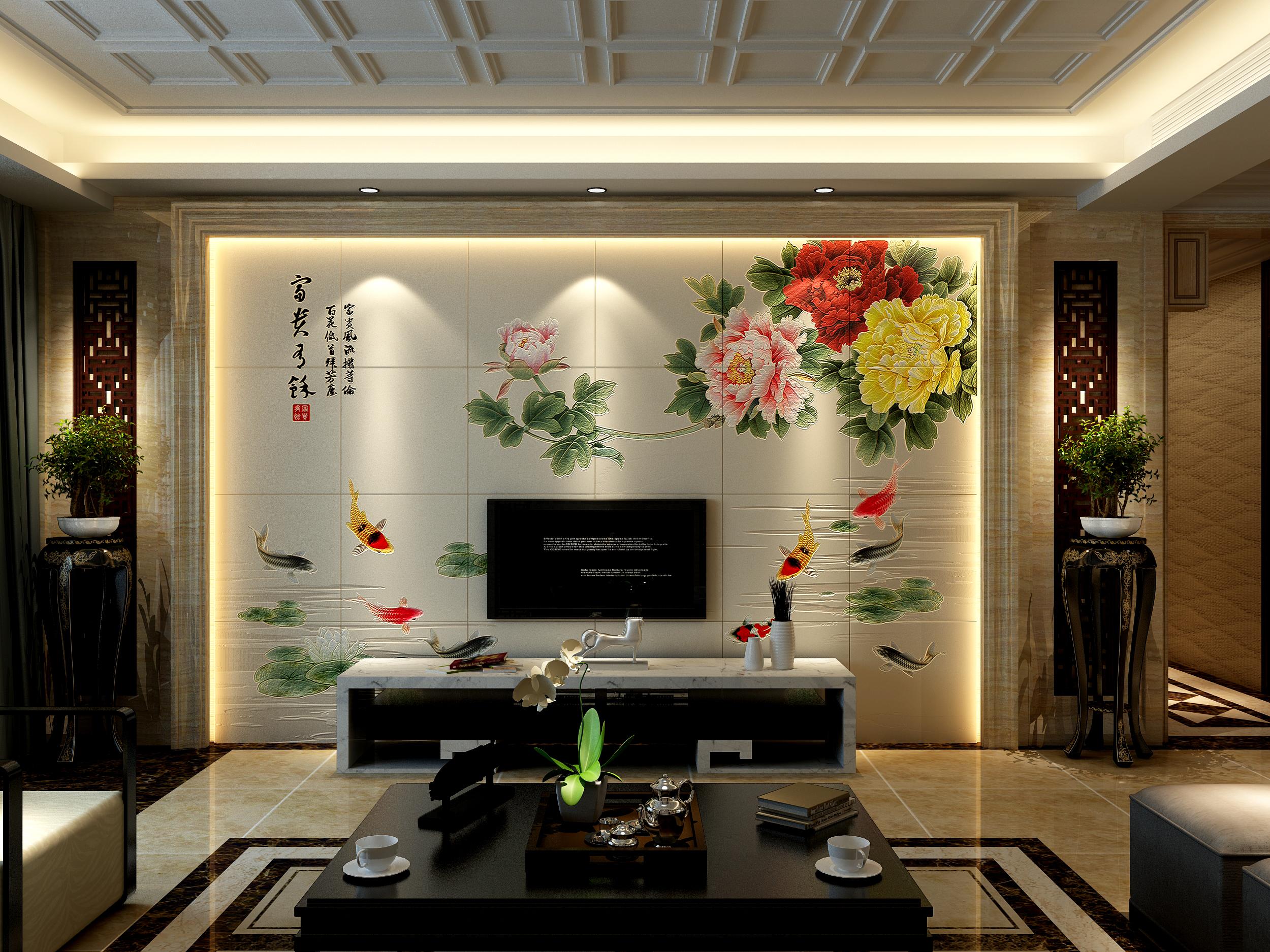 客厅电视背景墙瓷砖