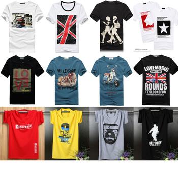 夏季几块钱T恤衫黑龙江哈尔滨全棉圆领印花T恤衫批发休闲宽松短袖大码男士短袖T恤衫