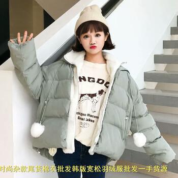 时尚毛领女式棉衣韩版女士冬装批发西藏那曲地摊便宜女装白鸭绒爆款羽绒棉服厂家直销