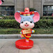 茂名玻璃鋼鼠年雕塑,卡通生肖雕塑商場美陳