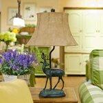 美式乡村小麋鹿儿童书房卧室床头台灯奢华欧式复古创意客厅装饰灯