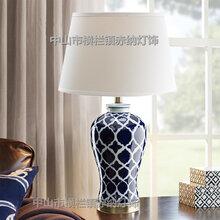 新中式蓝色网格田园陶瓷台灯美式花瓶手绘白色蓝色条纹陶瓷台灯