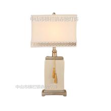 新中式米白色方形裂纹陶瓷台灯家居酒店样板房中式白色陶瓷台灯