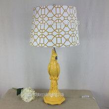 创意欧式软装设计动物鹦鹉台灯美式乡村黄白绿色客厅卧室酒店工程灯具