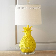 美式乡村黄色白色菠萝树脂台灯创意儿童房卧室样板房床头台灯