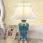 新中式蓝色绿色浮雕花纹陶瓷台灯家居样板房花鸟陶瓷美式床头台灯