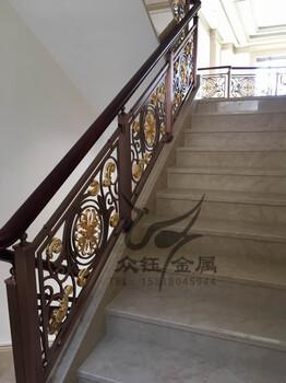 酒店铝板雕刻旋转楼梯护栏定制