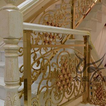 豪华别墅雕刻旋转楼梯家装精品护栏定制