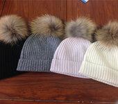 纯山羊绒螺纹帽子秋冬新款女式保暖针织帽子韩版纯色毛球帽