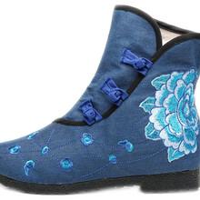 杭州汝美布鞋厂169-3新款绣花布鞋女鞋民族风靴子图片