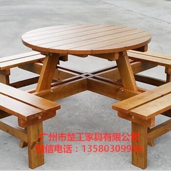 啤酒广场桌椅购物区连体桌椅餐厅休闲桌椅实木椅