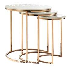 北欧大理石茶几小户型客厅不锈钢茶几现代简约钛金椭圆形创意茶桌家具