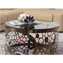 欧式大理石茶几组合客厅大小户型长方形不锈钢雕花茶几边几简约茶桌