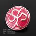 圆形logo红色烤漆胸章,金属徽章定做厂家,烤漆襟章制作