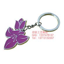 木棉花造型钥匙扣,金属珐琅钥匙扣定制,学校礼品钥匙扣制作厂家