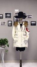 哥芙妮16新款皮草毛领加厚女士羽绒服品牌折扣女装走份北京惠品图片