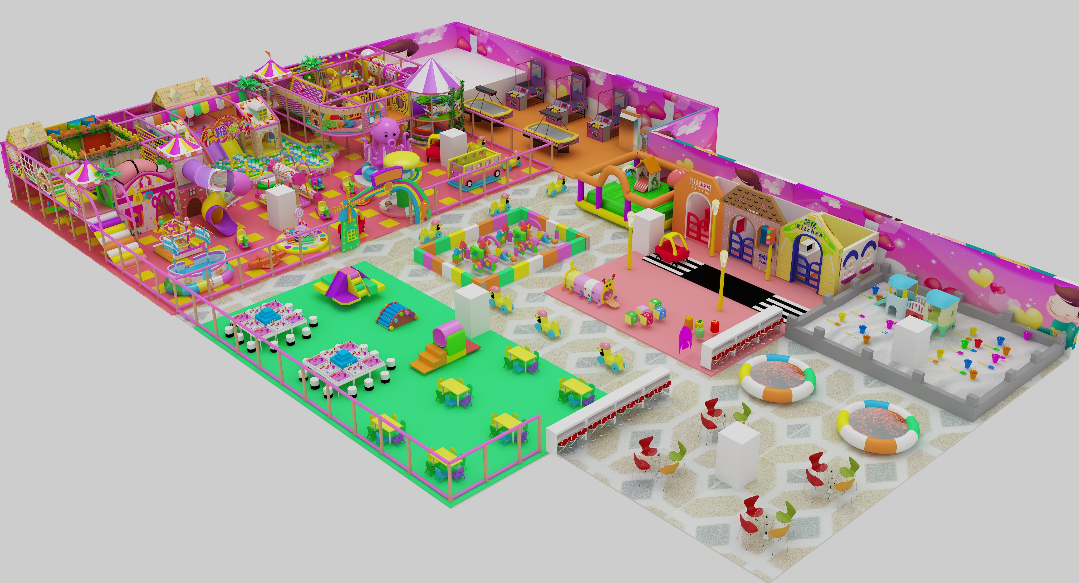 浩奇游乐设备山东供应淘气堡儿童亲子互动乐园