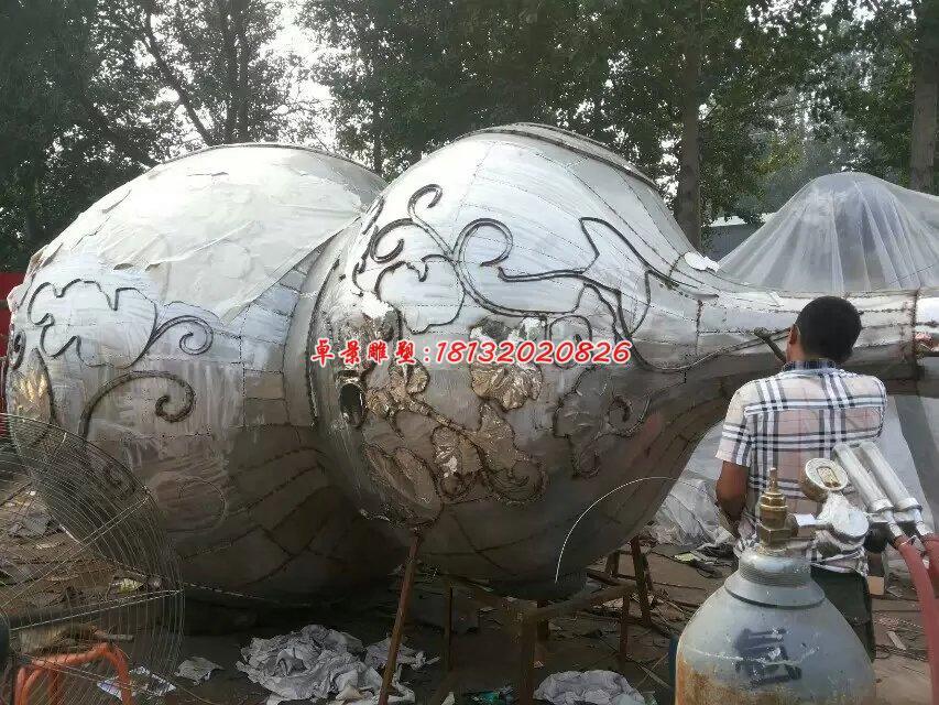 不锈钢葫芦雕塑,大型葫芦雕塑