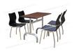 小吃店餐桌椅曲木皮革桌椅不锈钢防火板四人分体快餐桌椅ft4-072.jpg