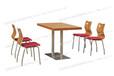 咖啡厅小吃店奶茶店饭店麦当劳西餐厅餐桌椅快餐店桌椅加厚直边方桌椅四人分不锈钢快餐桌椅ft4-068